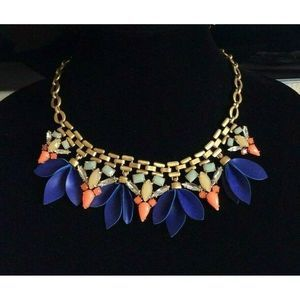 Stella & Dot Melia Blue Orange Rhinestone Necklace